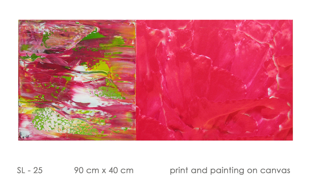 SL - 25 90 cm x 40 cm  print and painting on canvas