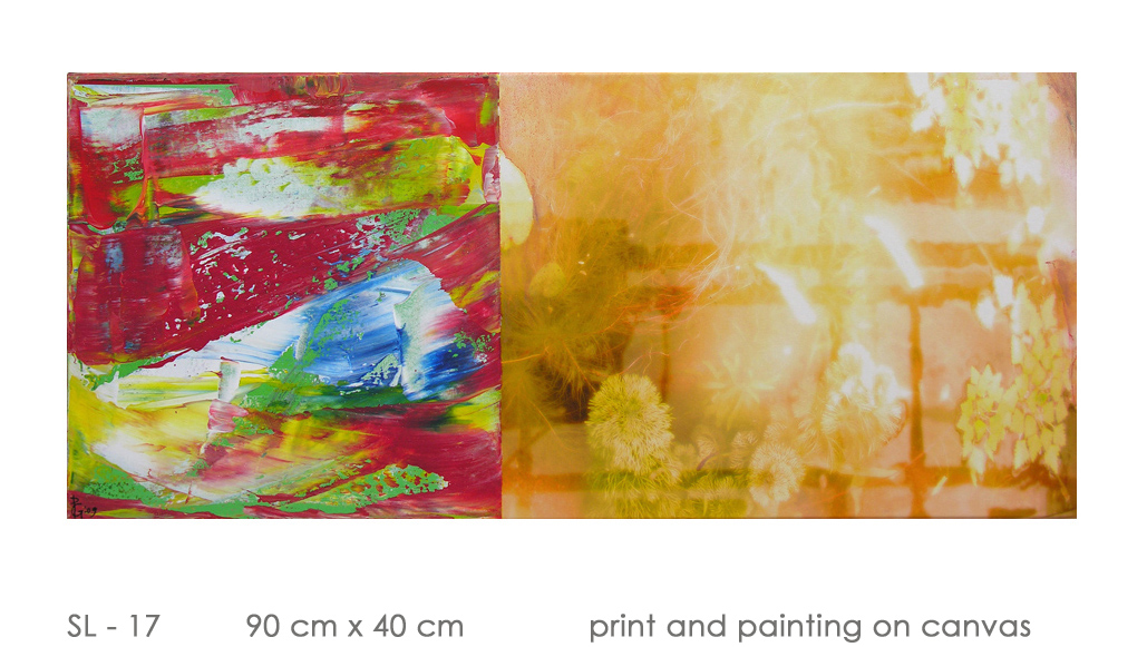 SL - 17 90 cm x 40 cm  print and painting on canvas