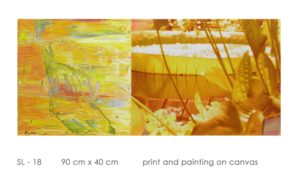 SL - 18 90 cm x 40 cm  print and painting on canvas