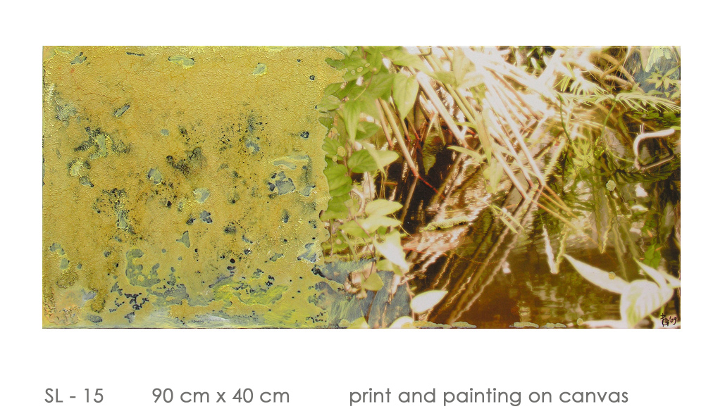 SL - 15 90 cm x 40 cm  print and painting on canvas