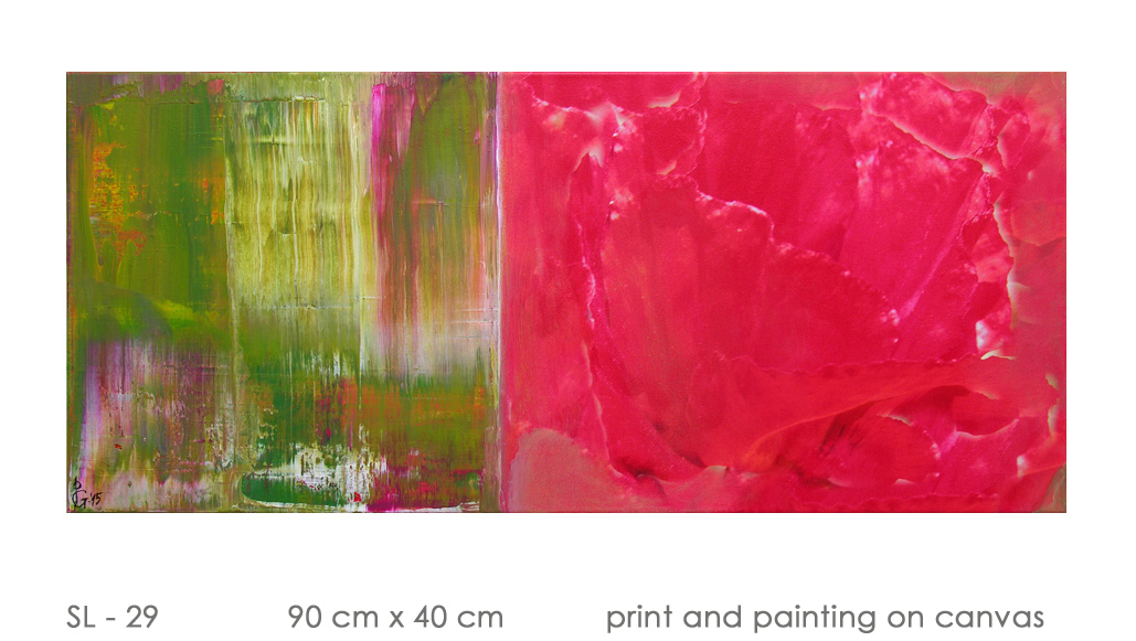 SL - 29 90 cm x 40 cm  print and painting on canvas