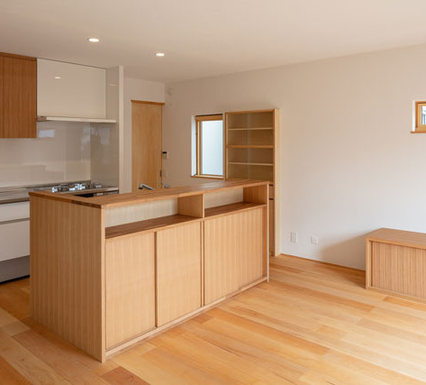 手前のユニットを造作家具と合体させて自然はLDKとしているⅡ列型キッチン