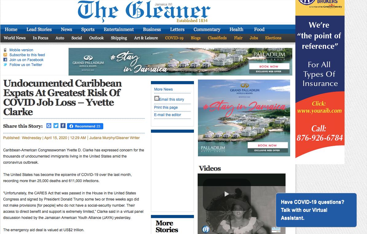 Jamaica Gleaner- JAYA COVID-19 Forum