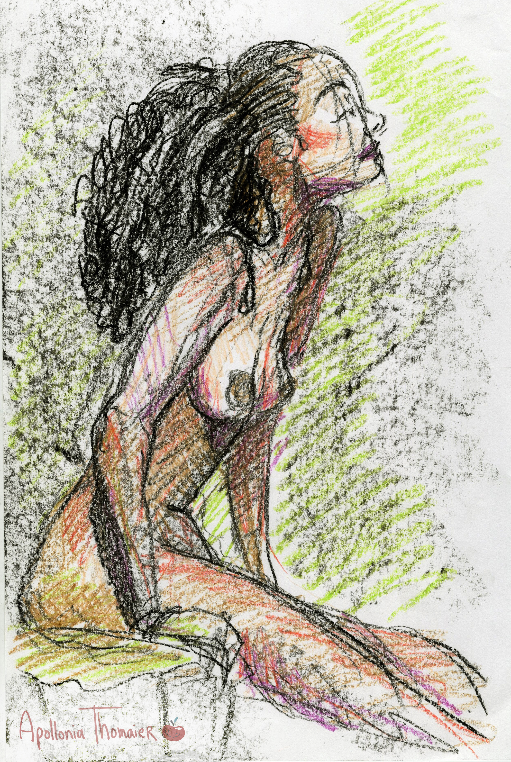 10 minute pose Medium: crayon