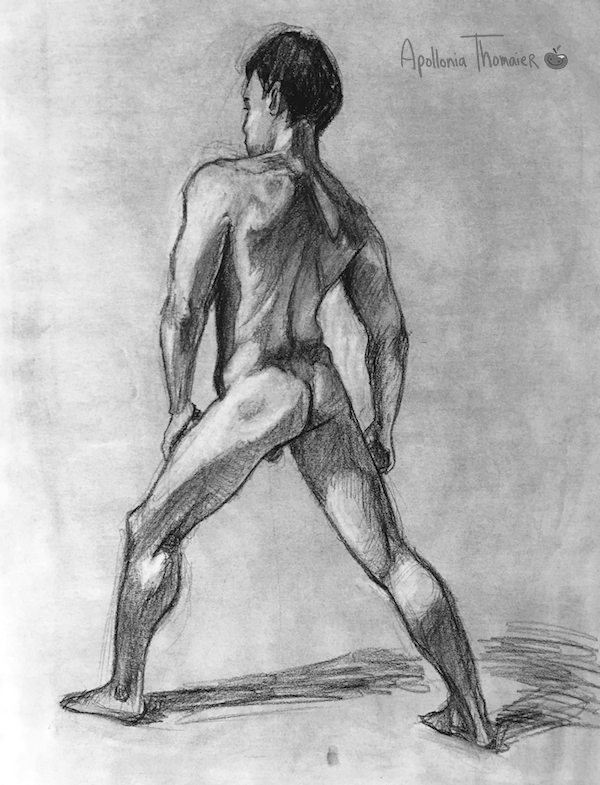 40 minute pose Medium: charcoal