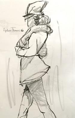2 minute pose Medium: marker, crayon