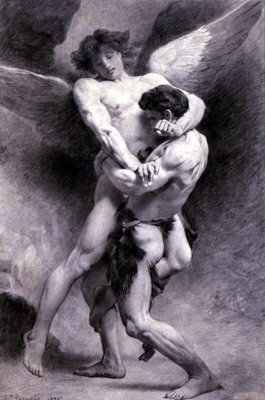 Man wrestling with angel