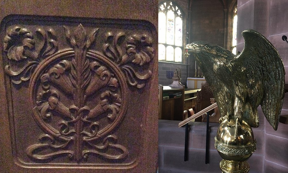 Wood carving and brass lectern in shape of eangle.