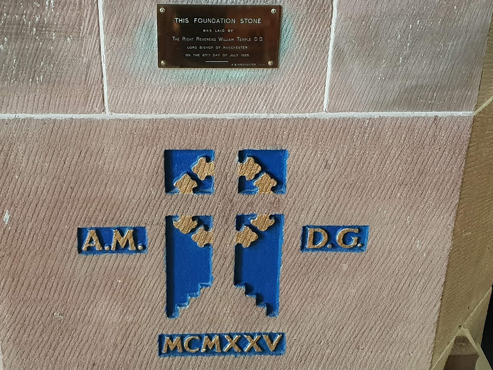 Carved cross on stone  A.M. D.G. MCMXXV