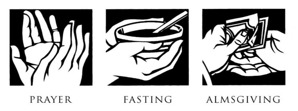 Prayer, Fasting and Almsgiving clip art