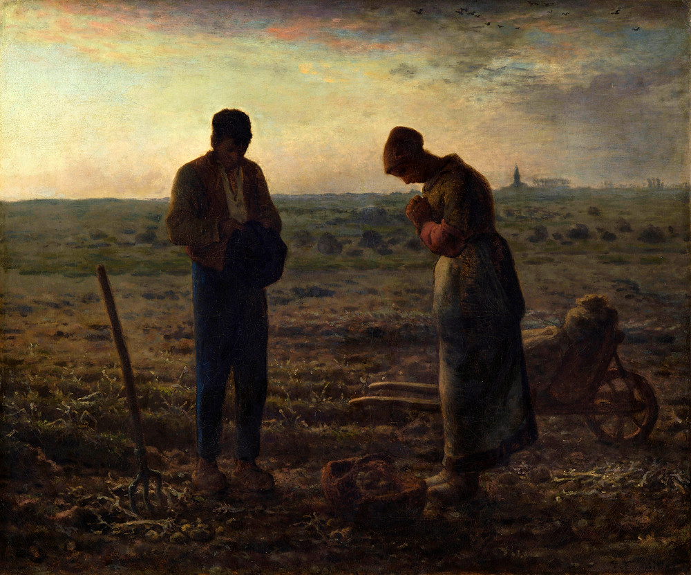 Man and woman in field with their heads bowed in prayer, artword.