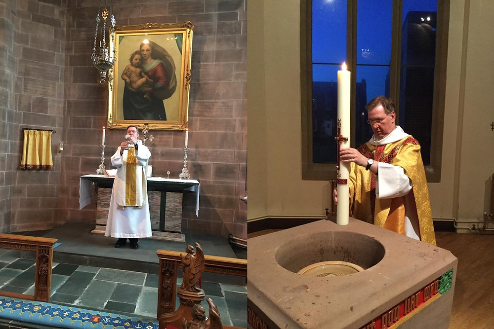 Priest celebrating Holy Communion and Priest stood at font with a large candle