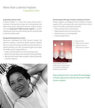 Straumann PURE Ceramic Implant Patient Brochure (Inside Spread)