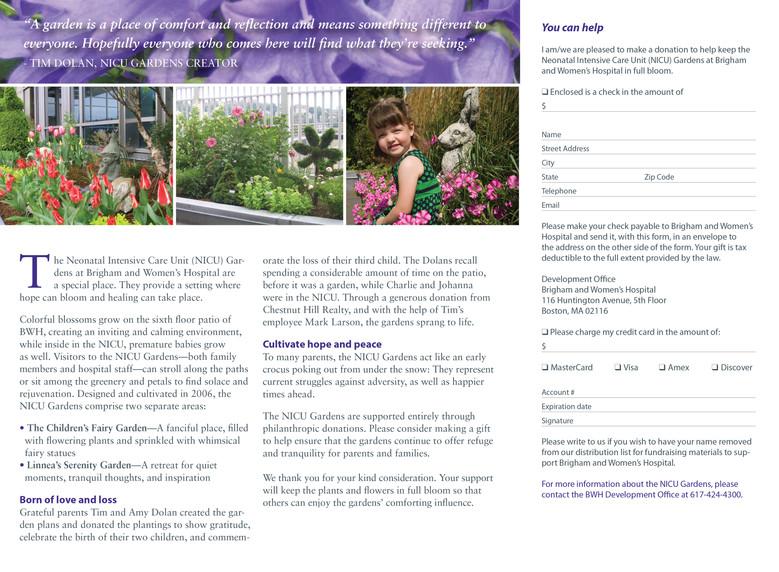NICU Gardens Brochure (Inside Spread)