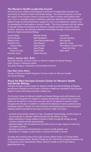 Women's Health Luncheon Program (Back)