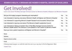 Women's Health Luncheon Program (Information Card)