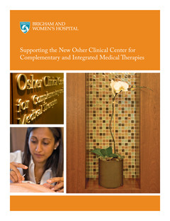 New Osher Clinical Center for  Complementary and Integrated Medical Therapies (Cover)
