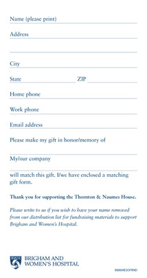 The Thornton & Naumes House for Mesothelioma Insert (Back)