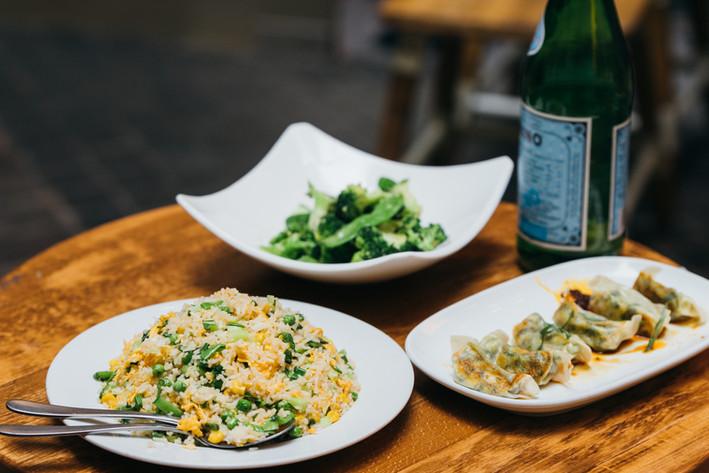 Fried Rice, Mixed Veg and Dumpling