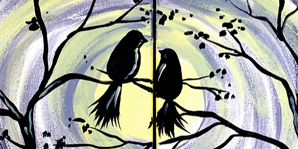 Birds in the Moonlight Double Canvas
