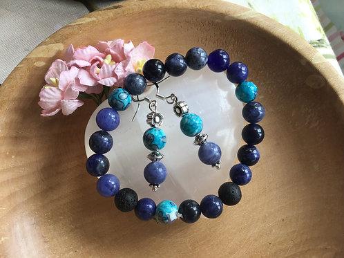 Crystal Gemstone Bracelet Earrings Sodalite