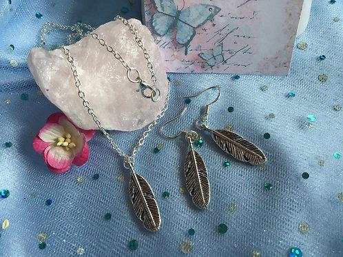 Feather Earrings Angel Wings Jewellery Set