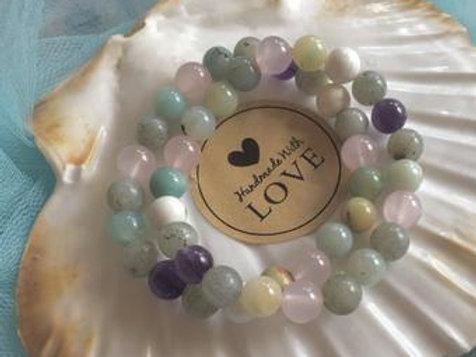 ANXIETY Bracelet, LABRADORITE, AMETHYST, Rose Quartz Crystal Bracelet, Crystal H