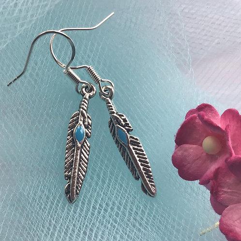 Feather Earrings Angel Sterling Silver Hoo