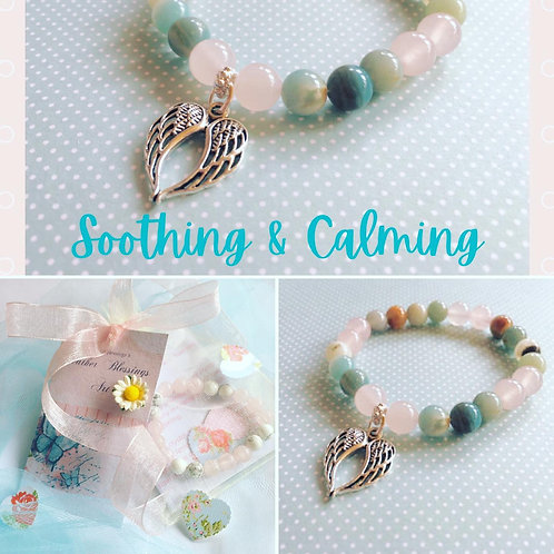 Anxiety Support, Amazonite & Rose Quartz Bracelet, Angel Wings
