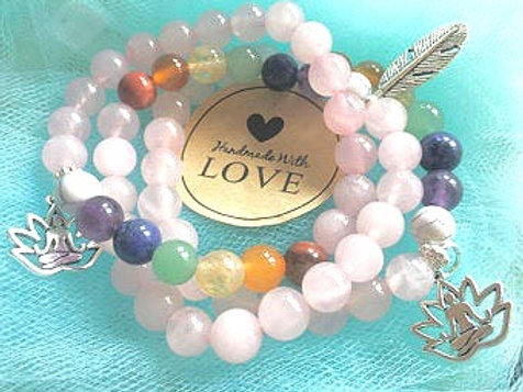 Rose Quartz  7 Chakra Crystal Healing Bracelet