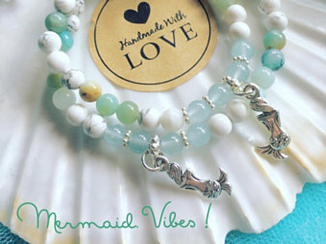 Mermaid Bracelet, Aquamarine, Amazonite, Howlite, Anxiety Support