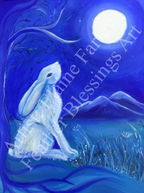 Moon Gazing Hare | Signed Fine Art Print