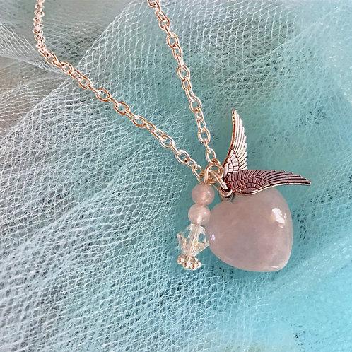Rose Quartz Heart Necklace Angel Wings Pendant