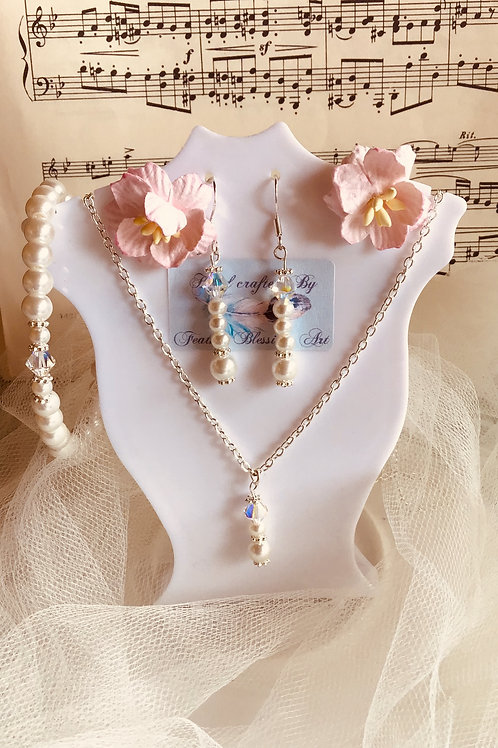 Wedding Bridal Bridesmaid Party Ball Pearl and Crystal Jewellery Set
