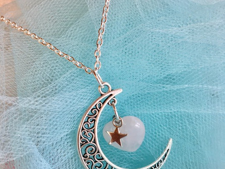 Valentines Necklace Love Heart Necklace Moon & Stars