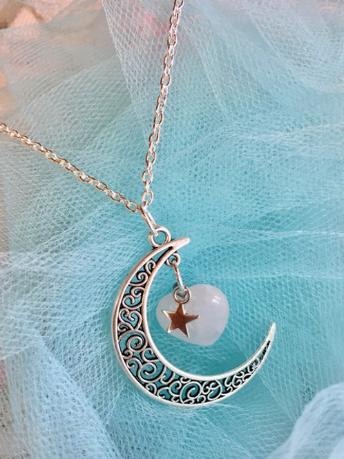Moon Stars Valentines Love Heart Necklace
