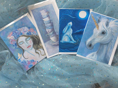 SET 4 Greetings Cards, Unicorn, Moon Hare, Teacups, Mother Earth