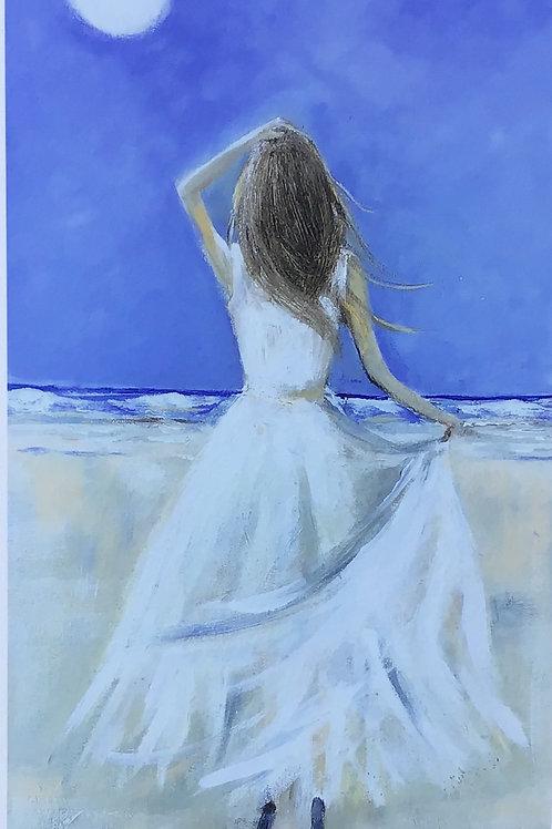 Lady on Beach | Signed Fine Art Print