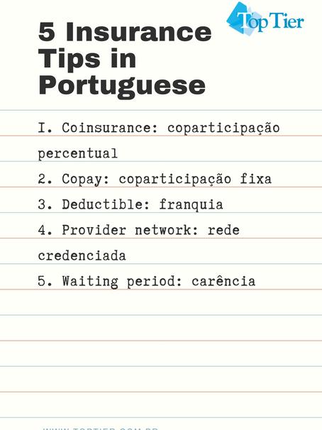 5 Insurance Tips in Portuguese