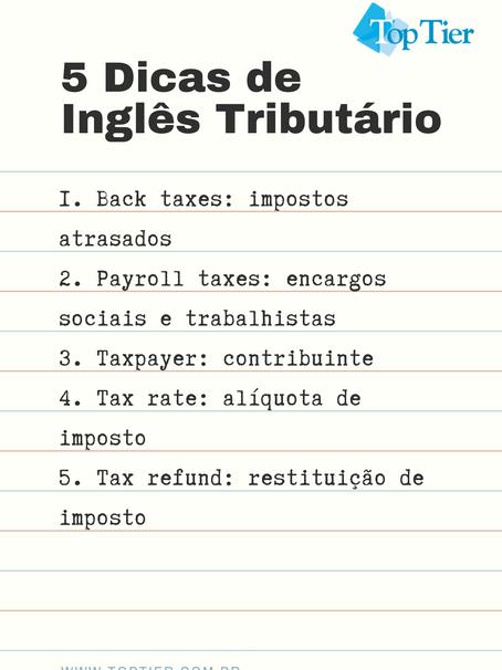5 Dicas de Inglês Tributário