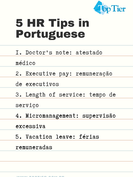 5 Human Resources Tips in Portuguese