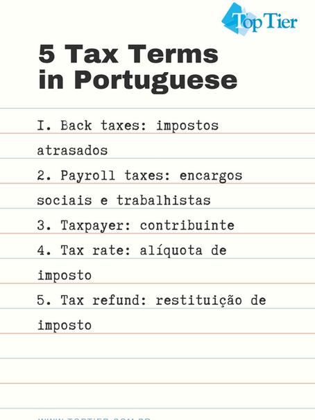 5 Tax Terms in Portuguese