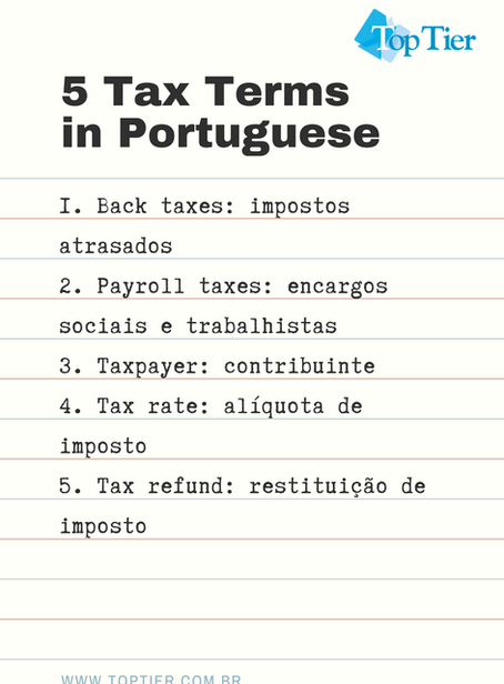 5 Tax Terms in Portuguese