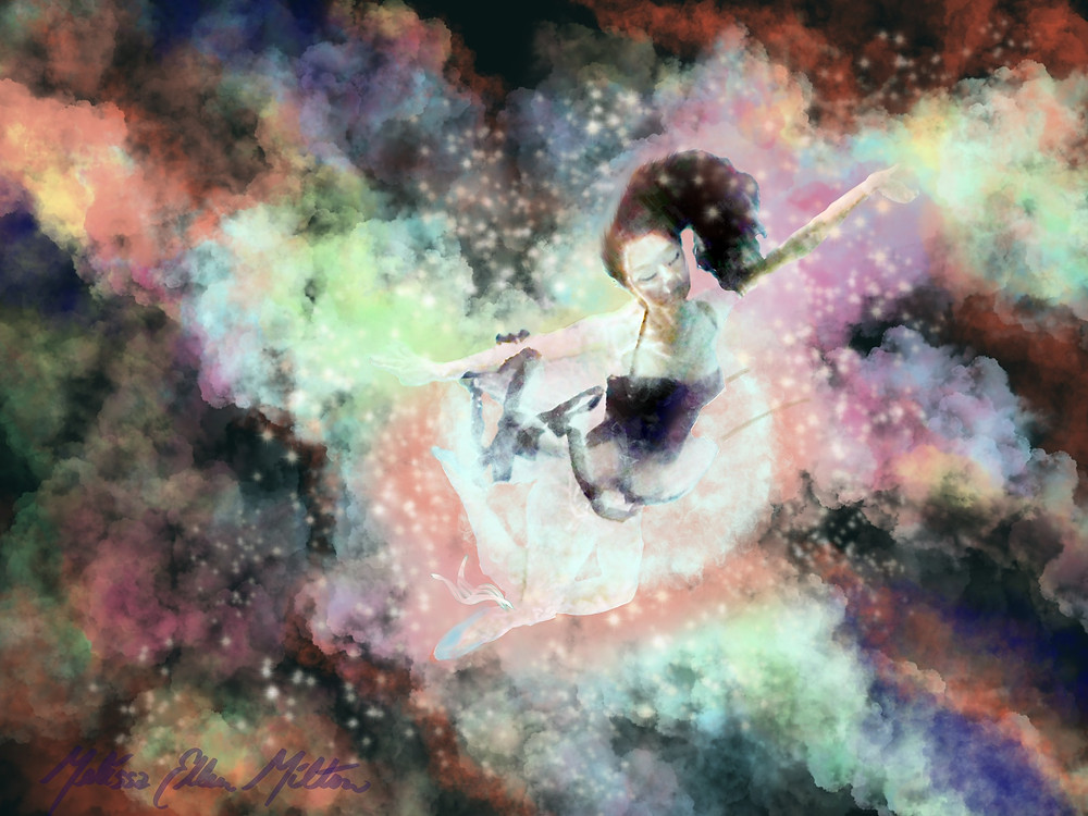 mermaid floating in the clouds with stars