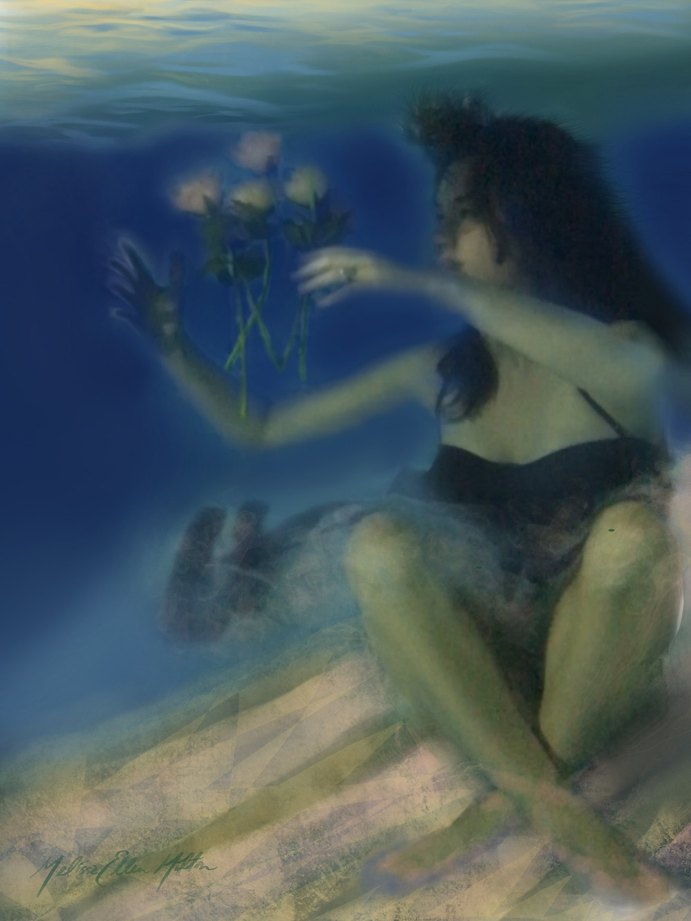 Young woman underwater with floating pink rose.