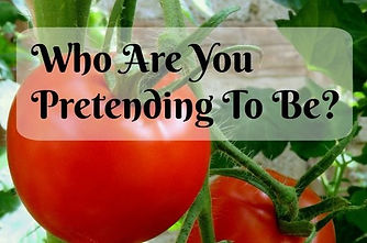 """Tomato plant, text in front reads """"Who Are You Pretending To Be?"""""""