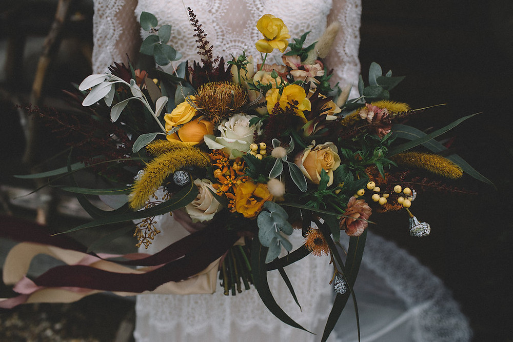 Lily Lupin Design. Autumn inspired bouquet.
