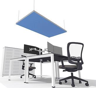 Duurzaam akoestisch plafondpaneel. Plafondeiland van gerecycled katoen. 100% duurzaam
