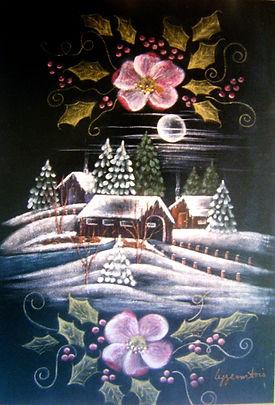 Entrée du village (pour Noël) - Peinture sur tissu velours