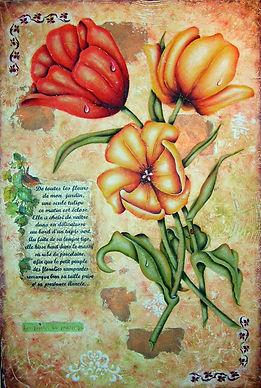 Les tulipes de mon jardin - Technique mixte
